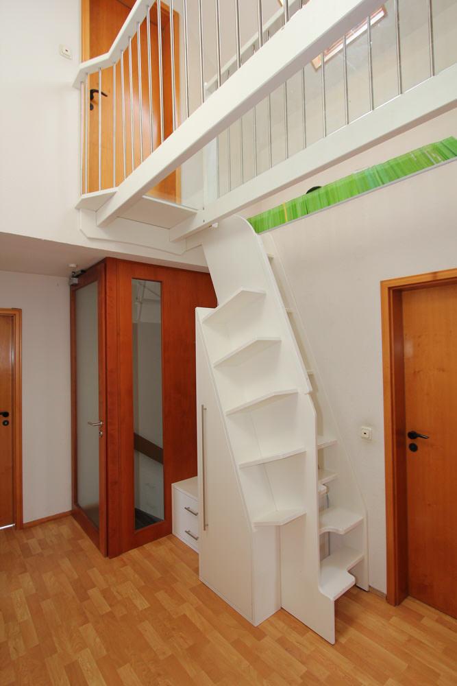 Schuhschrank und Treppenaufgang